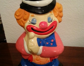Vintage Ceramic Clown Bank - 12 Inches Tall