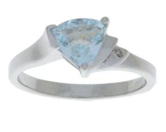 1.5 Ct Aquamarine & Diamond Trillion Ring .925 Sterling Silver