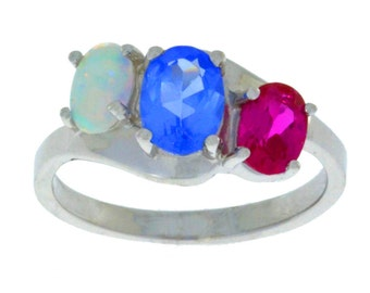 1.5 Ct Tanzanite Ruby & Opal Oval Ring .925 Sterling Silver