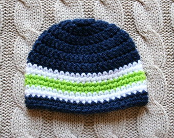Super Cute Crochet Knit Navy Blue, Lime Green and White Stripes Newborn Baby Boy Hat Beanie, Ready to Ship, Seattle Seahawks