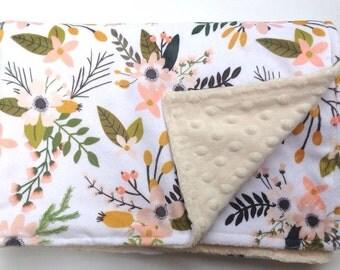 Floral Flowered Baby Girl Minky Blanket-Coral Floral-Designer Fabric-Baby Shower Gift-Bedding-Modern Girly Nursery