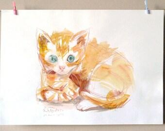 CAT original WATERCOLOR Red kitten - Original Artwork -  Wall Art - Made in France