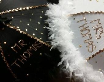 Set of TWO custom second line umbrellas for weddings, graduations, birthdays, parties