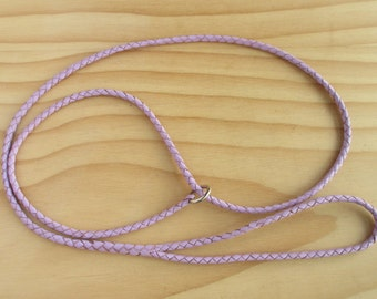 Leather Dog Show Slip Lead Braided in Lavender Kangaroo Leather - Lead On Sherry