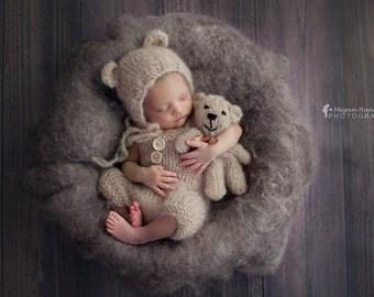 Fleece blanket Wool fluff basket stuffer newborn photo prop 3.5 oz