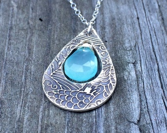 Sterling silver and aqua chalcedony pendant