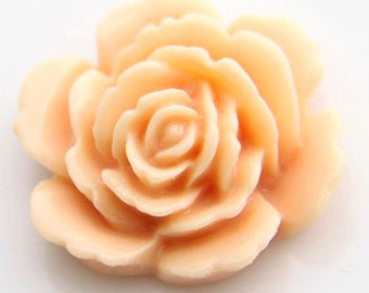 12 pcs of resin rose cabochon 20mm-20 more colors mixture-0054--8-peach