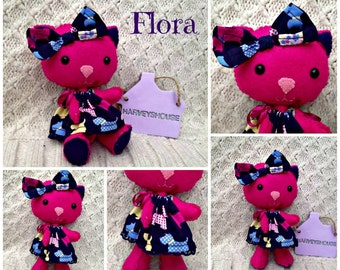 Felt Cat Collectable Friend - Flora The Explorer Handmade To Order Collectable Doll -