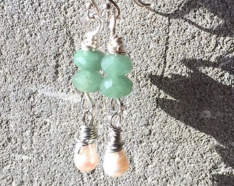 Green Aventurine Freshwater Pearl Earrings/Multi Gemstone Earrings/linear drop/stacked stones/semi precious/gift for Her/@IndigoLayne