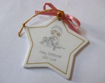 SALE Vintage Precious Moments Merry Christmas girl and teddy bear star porcelain ornament CIJ