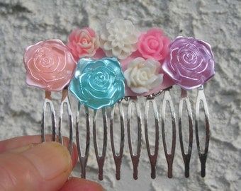 ROSE creamy & satin cabochons large silver plated HAIRCOMB- PASTEL colors