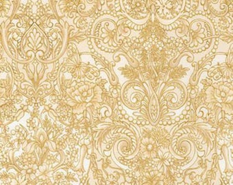 Tuscan Wildflower Metallic, Natural Scroll  with Metallic by Peggy Toole for Robert Kaufman 15408 14