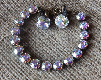 Swarovski crystal bracelet with all AB stones set in antique gold