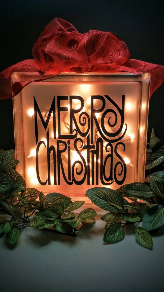 Merry christmas lighted glass block