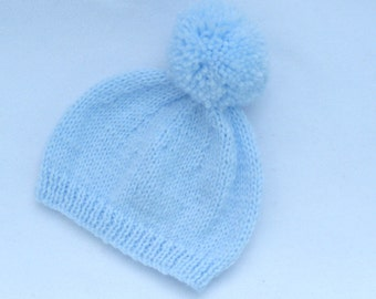 Knitted blue  hat. Hand knitted pale blue baby hat to fit 3 to 6 months baby. Baby clothes, baby accessories, baby gift. baby shower.