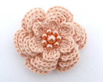 Large peach crochet 4 layer  flower brooch (3 ins diameter)