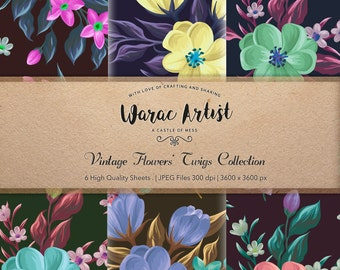 Vintage Flowers' Twigs - Digital Paper
