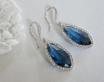 Blue Bridal Earrings, Bridesmaid Earrings, Swarovski Crystal Wedding Jewelry, Teardrop Dangle Earrings, Prom, Evening Wear