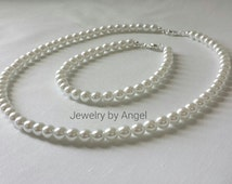 Simple Pearl Flower Girl Necklace and Bracelet Set  Baby Pearl Necklace Wedding Jewelry Children Jewelry