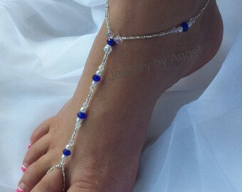 Sapphire Barefoot Sandals Foot Jewelry Anklet - Pearl and Crystal Sandal