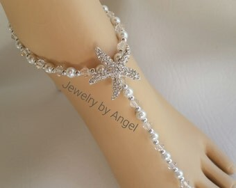 Pearl Crystal & Silver Bridal  Barefoot Sandal  Beach Wedding Bridal Foot Jewelry Bridal Starfish Jewelry