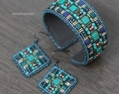 Bracelet Cuff & Earrings Bead Embroidery - beadwork, beaded, embroidered, beading, wide, beads, spun gold, blue, turquoise, ethnic