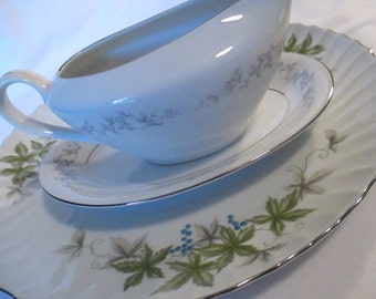Vintage Mismatched China Serving Pieces, Round Serving /  Chop Plate, Gravy Boat with Underplate