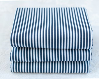 3mm Navy Stripe Fat Quarter | Cotton Fabric