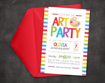 Rainbow Art Party Invitation - Painting Party - Printable