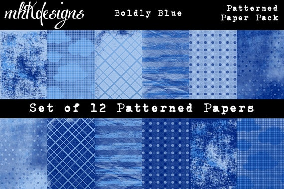 Boldly Blue Digital Paper Pack