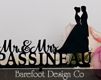 Personalized Acrylic  Silhouette  Wedding Cake Topper