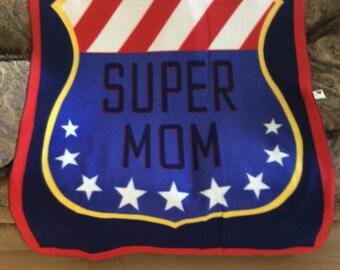 """60""""x45""""fleece """"Super Mom"""" blanket"""