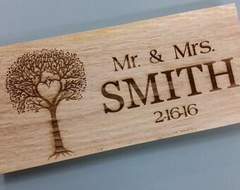 Personalized Last name established sign Rusting wedding sign 8x20 Laser engraved sign