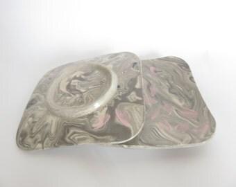 Japanese pottery, Ceramic medium plates set, Ceramics and Pottery, Cherry blossom, gray, Nerikomi