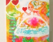 Whimsical card Birthday Girl Blank For her  Original Card Heart Art  Magical Greeting Card White Swans