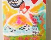 Whimsical card Birthday Girl Blank For her  Original Card Heart Art  Magical Greeting Card White Swans