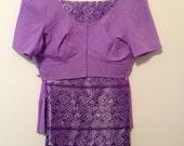 Lavender Light Purple Silver Metallic Trim Heavy Silk Traditional Indian Sari Saree 5 Yards Fabric w/ Cotton Choli Blouse and Petticoat