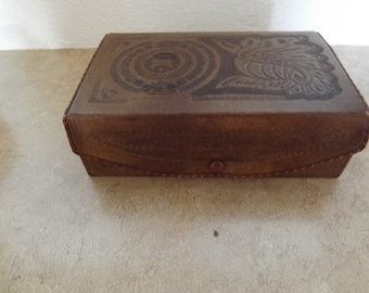 Beautiful Tooled Leather Jewelry Box