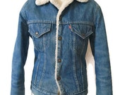 RESERVED for Justin // Vintage Levi's Jacket Sherpa Lined Rocker Meets Rugged Rustic Mountain Jean Jacket Fitted 1970s Trucker Coat SMALL 36