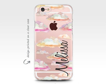 iPhone 7 Case, Personalized, iPhone 6 Case, iPhone X Case, Clouds, Transparent, iPhone 8 Case, Galaxy S8 Case, iPhone 7 Plus Case