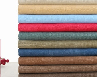 """12 Color Thick Retro Cotton canvas fabric pure color washed for processing canvas bag fabric by half yard- 110 cm wide x 45 cm(43""""x 17.7"""")"""