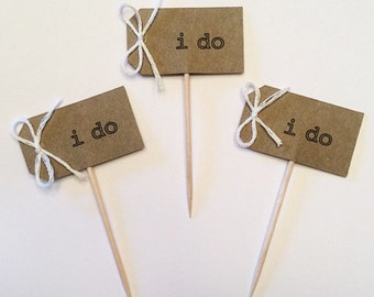 "Wedding Cupcake Toppers ""i do"" Tags with Bow - Set of 12"