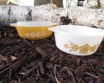 Pyrex Butterfly Gold Nesting Casserole Dishes with Lid
