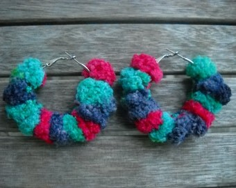 crocheted hoop earrings Winter Days, 2 shades