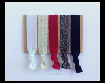 5 Glitter HAIR TIES, Sparkly, Black, Silver, White, Red, elastic Yoga Bands, Party Favor, Bridesmaid, Graduation 2016, Mothers day, Formal