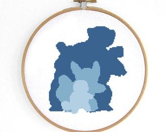 Blastoise Evolution Pokemon Cross Stitch Pattern