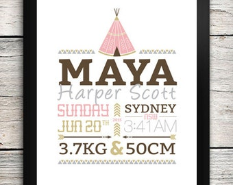 PRINTABLE Tee Pee Birth Details Print / Birth Announcement Print INSTANT DOWNLOAD
