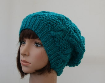 Chunky knit cable beanie in Sea Green /Slouchy Beanie/Knitted hat/Beanie hat