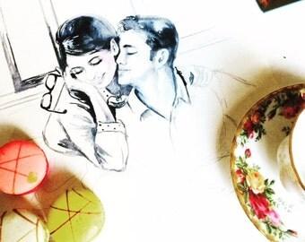 Our Love Story Original Watercolor Illustration - Romantic Bliss Collection - Lana's Art - Love Kiss Romance