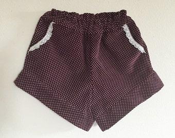 Girls Shorts/Corduroy/Stylish/New Vintage/Maroon